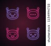 robot emojis neon light icons... | Shutterstock .eps vector #1154994733