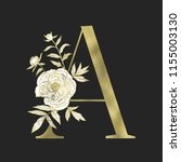 floral alphabet and gold serif... | Shutterstock .eps vector #1155003130