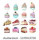 set of tasty delicious dessert. ...   Shutterstock .eps vector #1155013720