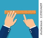 plastic measuring ruler in hand.... | Shutterstock .eps vector #1155014659