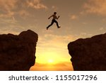 man jump through the gap 3d... | Shutterstock . vector #1155017296
