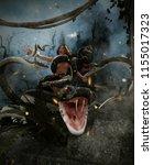 giant fantasy snake attack a... | Shutterstock . vector #1155017323