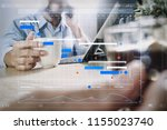 project manager working and... | Shutterstock . vector #1155023740