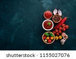 ketchup sauce in a bowl. cherry ... | Shutterstock . vector #1155027076