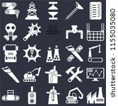 set of 25 icons such as factory ... | Shutterstock .eps vector #1155035080