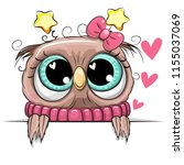 cartoon owl is holding a... | Shutterstock .eps vector #1155037069