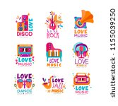 set of bright music logos with... | Shutterstock .eps vector #1155039250