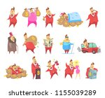 fat rich millionaire men in red ... | Shutterstock .eps vector #1155039289
