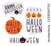 set of hand drawn halloween... | Shutterstock .eps vector #1155039733
