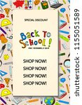 back to school sale flyer card. ... | Shutterstock .eps vector #1155051589