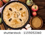 homemade tasty apple pie with... | Shutterstock . vector #1155052360