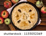 homemade tasty apple pie with... | Shutterstock . vector #1155052369