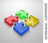 four color glassy puzzle pieces ... | Shutterstock . vector #1155055630
