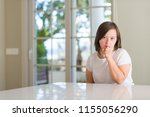down syndrome woman at home... | Shutterstock . vector #1155056290