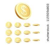 golden coin set. rotating 3d... | Shutterstock .eps vector #1155056803