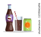 bottle with cherry cola and... | Shutterstock .eps vector #1155061696