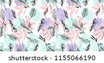 pastel palm leaves print for... | Shutterstock . vector #1155066190