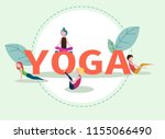 green yoga poster with girls... | Shutterstock .eps vector #1155066490