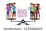 race equality vector. standing... | Shutterstock .eps vector #1155066619