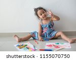 little girl child showing front ... | Shutterstock . vector #1155070750