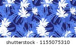 hand drawn artistic palm leaves ... | Shutterstock . vector #1155075310