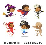african american set of boys... | Shutterstock .eps vector #1155102850