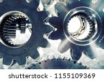 gears and cogs titanium and... | Shutterstock . vector #1155109369