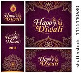 set of happy diwali cards and... | Shutterstock .eps vector #1155110680