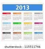 2013 Calendar  Vector Eps10...