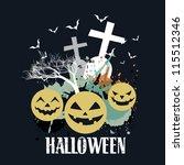 creative halloween vector... | Shutterstock .eps vector #115512346