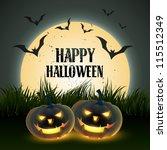 creative halloween vector... | Shutterstock .eps vector #115512349
