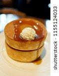 fluffy japanese pancakes        ... | Shutterstock . vector #1155124033