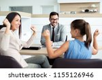 happy and excited family... | Shutterstock . vector #1155126946