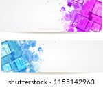 two banners with purple and... | Shutterstock . vector #1155142963