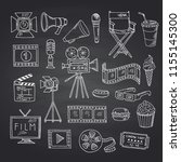 vector cinema doodle icons on... | Shutterstock .eps vector #1155145300