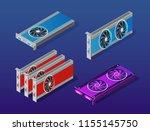 video card set of mining... | Shutterstock .eps vector #1155145750