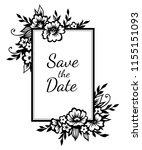 romantic rectangular frame with ... | Shutterstock .eps vector #1155151093