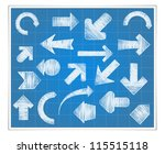 blueprint paper with hand drawn ... | Shutterstock .eps vector #115515118