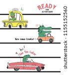 hand drawn dinosaur driving...   Shutterstock .eps vector #1155152560