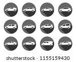 set of twelve flat style cars... | Shutterstock .eps vector #1155159430