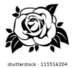 black silhouette of rose with... | Shutterstock .eps vector #115516204