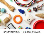 Stock photo flat lay composition with accessories for dog and cat on wooden background pet care 1155169636