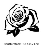 Black Silhouette Of Rose With...