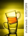 black tea in glass cup on a... | Shutterstock . vector #1155172093
