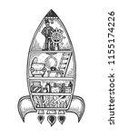 fantastic fabulous spaceship...   Shutterstock .eps vector #1155174226
