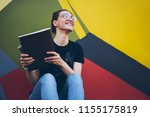 happy smiling female student in ... | Shutterstock . vector #1155175819