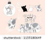 pig with a bow on the christmas ... | Shutterstock .eps vector #1155180649