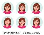 set of girl woman facial... | Shutterstock .eps vector #1155183409