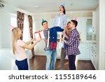 friends with cake celebrating... | Shutterstock . vector #1155189646