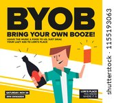 byob party template for poster  ... | Shutterstock .eps vector #1155193063